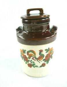 Vtg-McCoy-Pottery-Milk-Jug-Jar-Rooster-Hand-Painted-Folk-Art-Canister