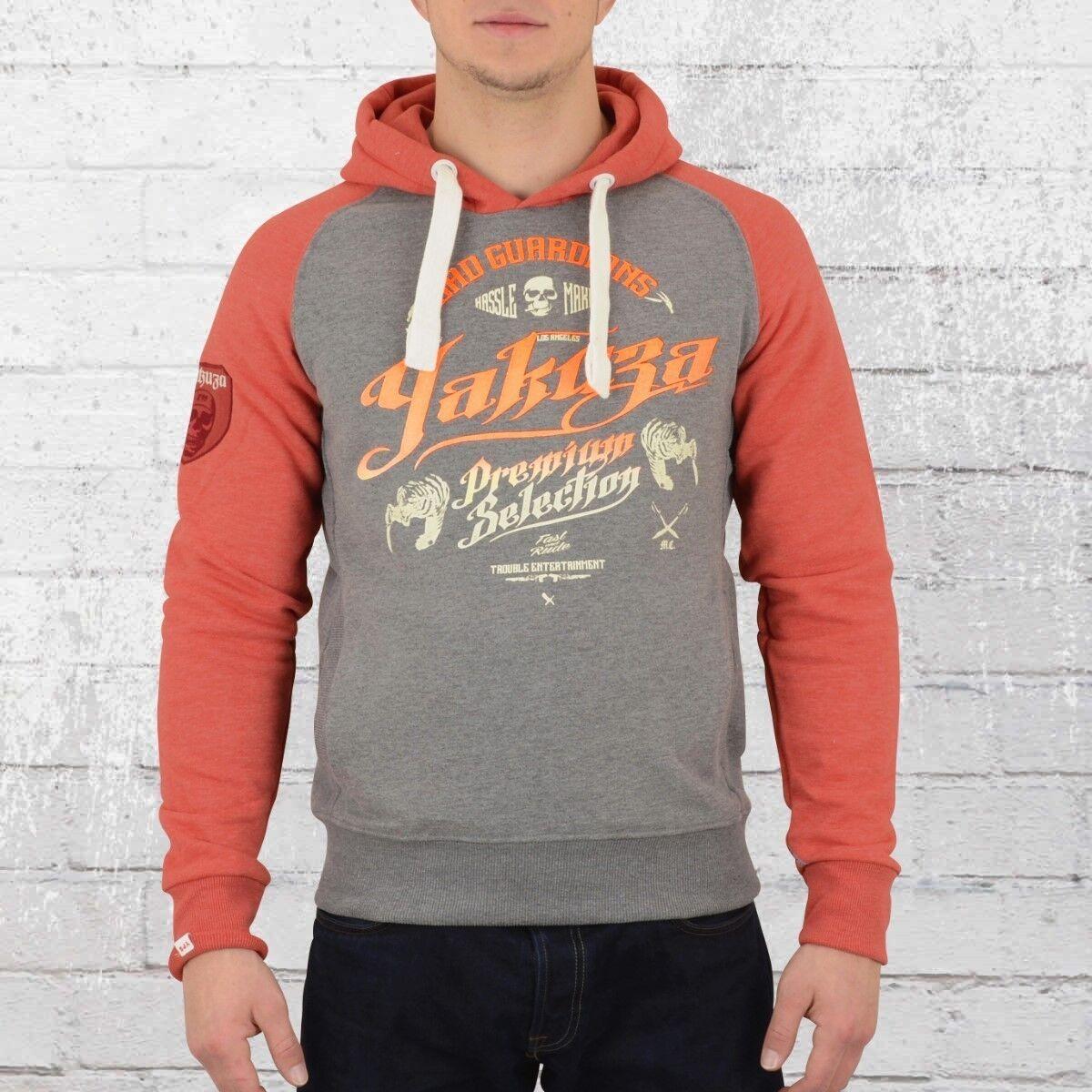 Yakuza Premium Herren Kapuzenpullover Selection 2222 grau rot Kapuzensweater