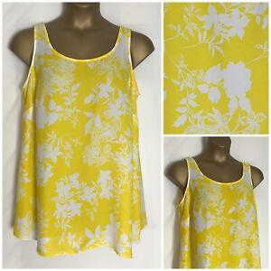 Evans-Yellow-Floral-Chiffon-Tunic-Sleeveless-Top-Plus-Size-14-32-New-e-26h