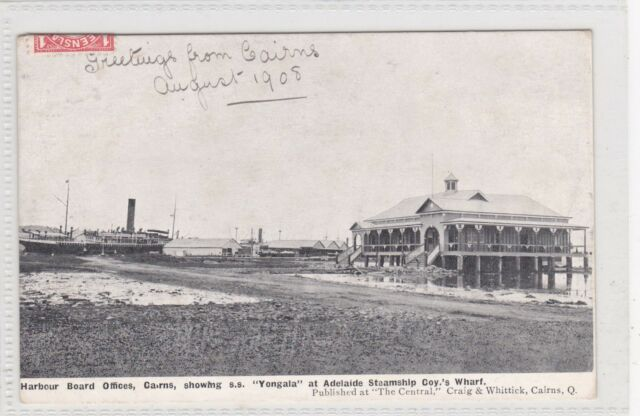 VINTAGE POSTCARD  HARBOUR BOARD CAIRNS QUEENSLAND ADELAIDE S.S CO 1900s