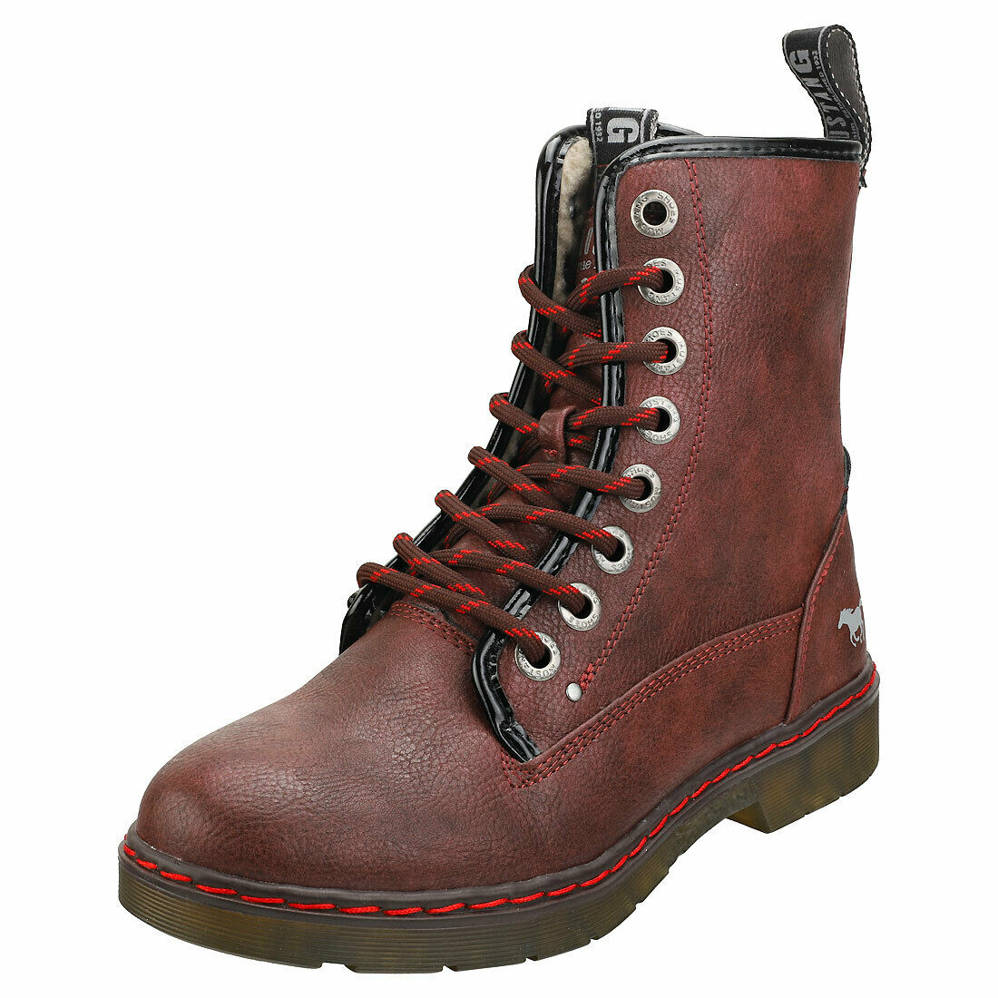 Mustang Lace Up Side Zip damen Burgundy Synthetic Ankle Stiefel