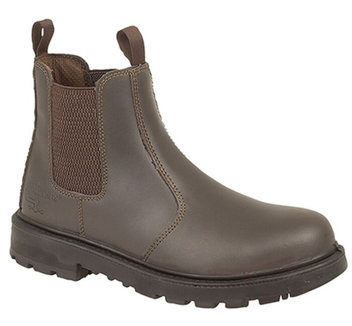 MENS SIZE 3 4 9 5 6 7 8 9 4 10 11 12 13 14 15 16 BROWN LEATHER SLIP ON SAFETY BOOTS 532afb