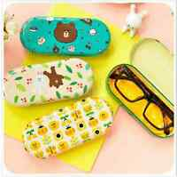 Cute Kawaii Line Brown Bear Sun Eyeglass Glasses Case Tin Box W/ Cleaning Cloth