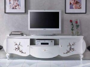 Mobile basso porta tv in legno bianco con decori arredo soggiorno ebay