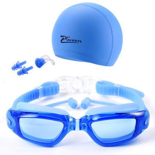 Swimming Goggles Glasses UV Protection Anti Fog Swim CAP Ear PLUGS Nose Clip Set