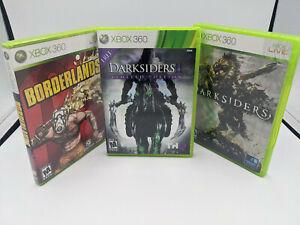XBOX 360 Game Lot Bundle Borderlands Darksiders 1 & 2 Very Good Used