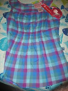 American-Girl-ADDY-PERIWINKLE-PLAID-TOP-FOR-GIRLS-SIZE-16-NWTS
