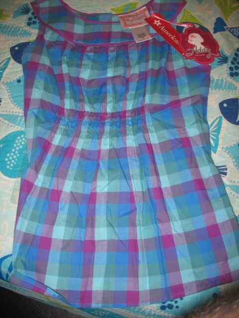 American Girl ADDY PERIWINKLE PLAID TOP FOR GIRLS SIZE 16 NWTS