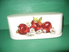 APPLES AND DAISIES  CERAMIC  BUTTER   DISH..  FREE SHIPPING     MADE  IN  USA