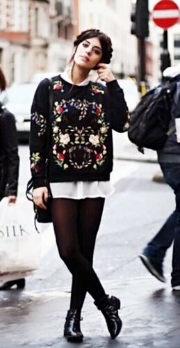 New Women Ladies Black Winter Floral Embroidery Knitted Jumper Knitwear Sweatshi