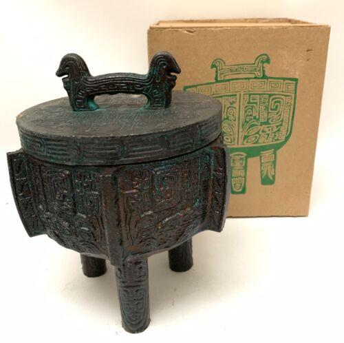 Vintage James Mont Style Chinese Metal Tiki Mug Cup Tripod Ice Bucket NOS