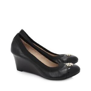 1446aa549be3fd Tory Burch Women s Jolie Leather Cap Toe Wedge Pump Black Size 8 NIB ...