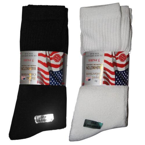 Bianco UK 6-11 5 COPPIA Cotone Ricco Uomo Plain Classic Sports Socks Thick Nero