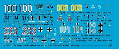 Peddinghaus-Decals 1//48 3742 6 Königstiger West und Ostfront 1944-1945