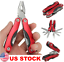 Outdoor Survival Stainless Steel Multi Tool Plier 9 In 1 Portable Compact Red