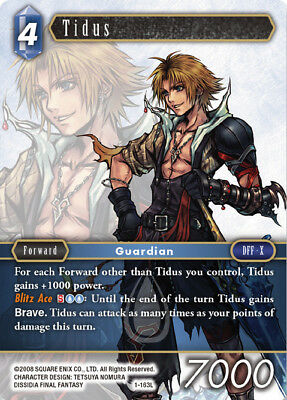 Mint//NM Opus I Final Fantasy TCG SquareEnix SquareSoft FF TCG: Tidus 1-163L