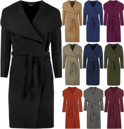 BRAND NEW LADIES WATERFALL BELT JACKET DRAPED WOMEN/'S CARDIGAN TRENCH COAT