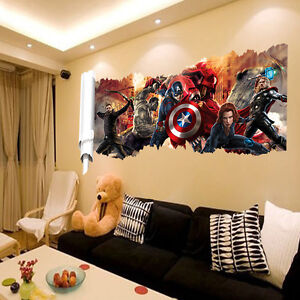 3d Avengers Captain America Iron Man Wall Sticker Decal Home Art