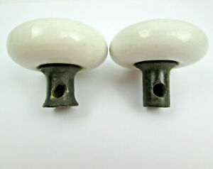 Two-Vintage-White-Ceramic-Porcelain-Door-Knobs-WITH-DEFECTS