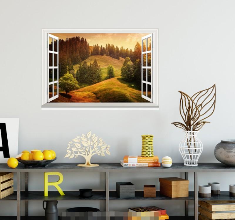 3D Mount Tree 4119 Open Windows WallPaper Murals Wall Print Decal Deco AJ Summer