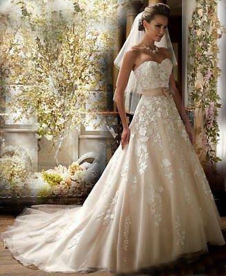 White /Shallow Champagne Wedding Dress Bridal Gown Stock Size 4 6 8 10 12 14 16