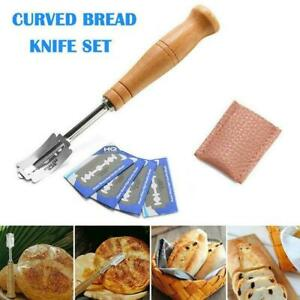Bread-Bakers-Slashing-Tool-Dough-Making-Cutter-4-Blades-Handle-Wooden-B7E3