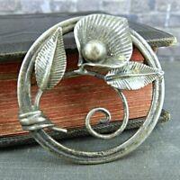 Vintage Van Dell Sterling Silver Calla Lily in Circle Pin / Brooch