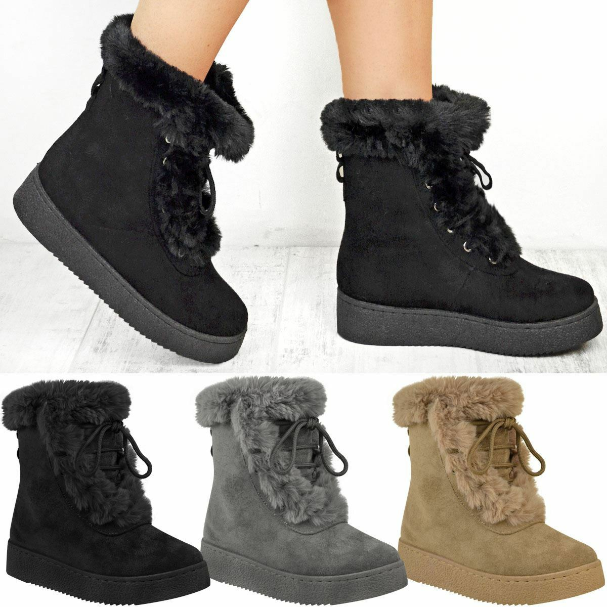 Womens Ladies Winter Ankle Boots Fur Fleece Lining Snow Ski Flatforms Shoe Size
