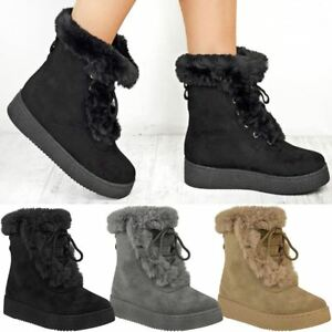 525aa39fb Details about Womens Ladies Winter Ankle Boots Fur Fleece Lining Snow Ski  Flatforms Shoe Size