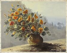 GUIDO ODIERNA Signed Vintage Original Mid Century Oil Painting FLORAL STILL LIFE