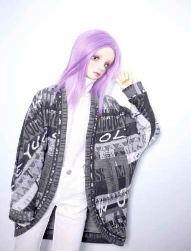 "1//3 8-9/"" Bjd Doll Medium Long Light Purple Straight Iron Perm Gorgeous Hair Wig"