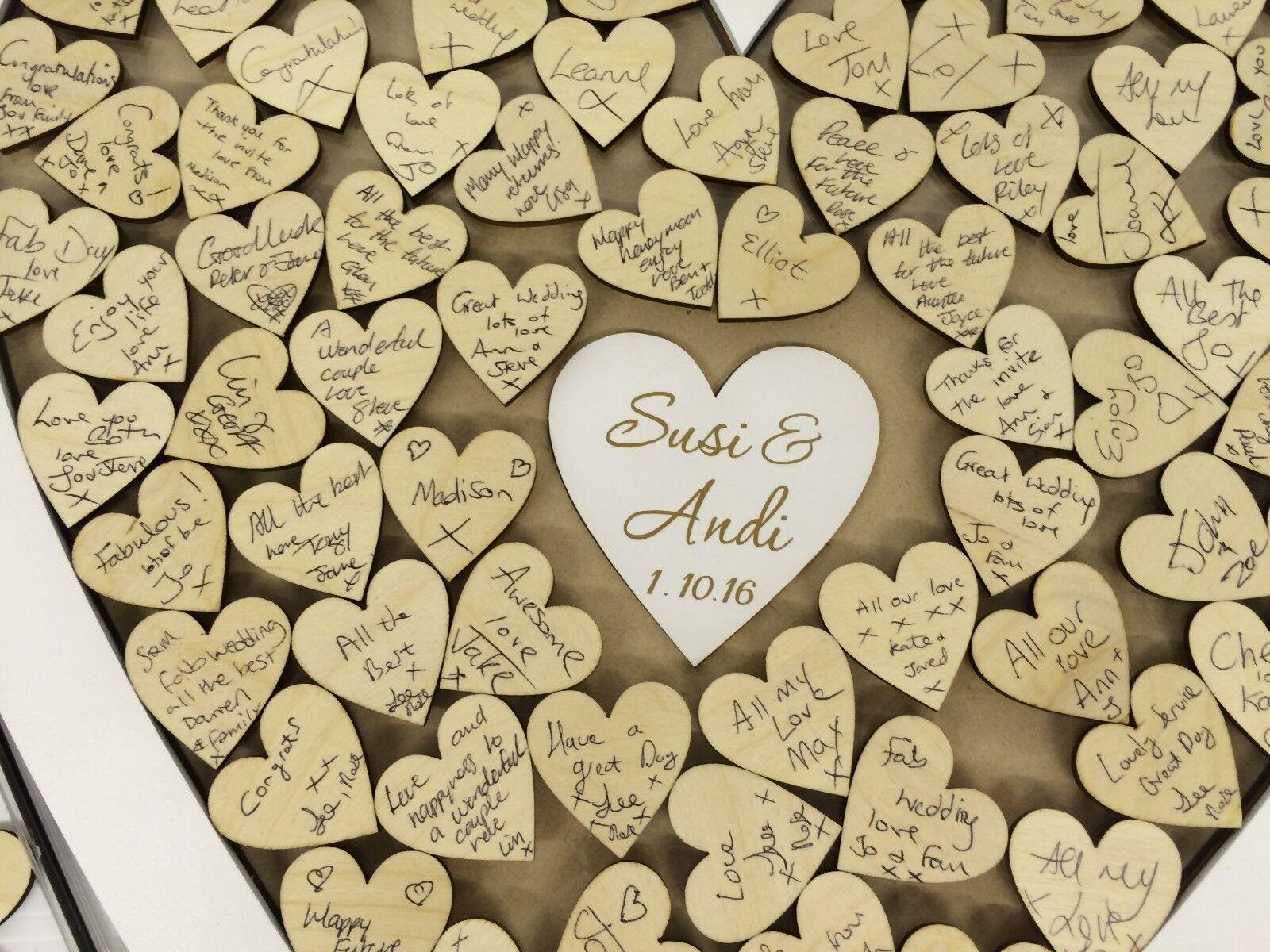 Personnalisé Blanc Mariage Mariage Blanc en forme de cœur Livre d'or Drop Box en bois 104 coeurs d3e34e