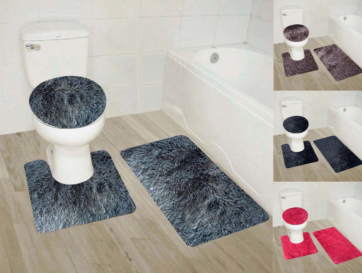 Bath Mat Sets North Americans Contour Rug U-Shaped Toilet Lid Cover,Non Slip,Machine Washable,3-Piece Rug Set Easier to Dry for Bathroom