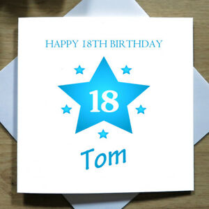 Image Is Loading Personalised Handmade Star 18th Birthday Card Him Son