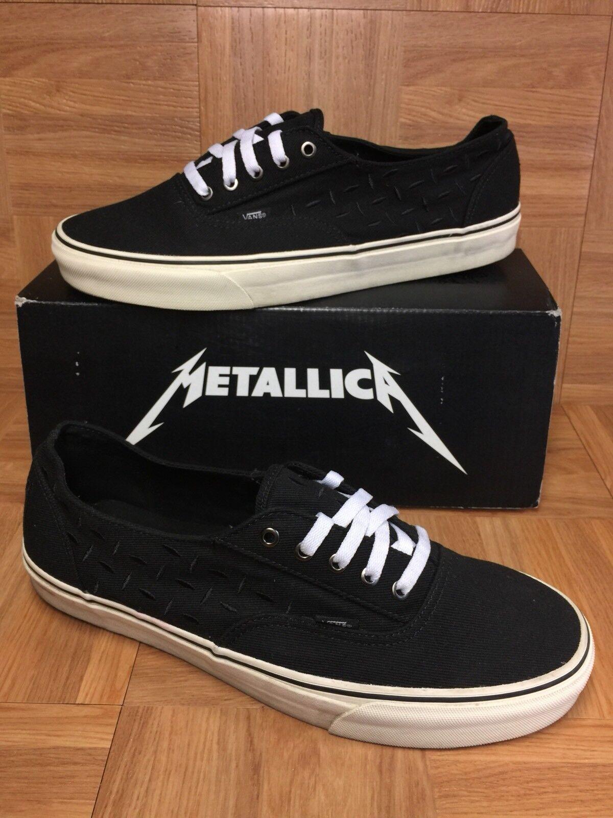RARE VANS Metallica Lars Ulrich Laceless Laceless Laceless Era Uomo scarpe Sz 13 nero bianca LE 891743