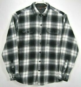 Woolrich-Mens-Size-Extra-Large-Flannel-Shirt-Gray-Plaid-Long-Sleeve-Cotton-EUC