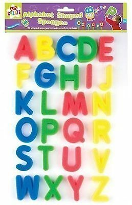 Children 26 Alphabet Letter Shapes Paint Sponge Set Art Craft Party Bath Fun