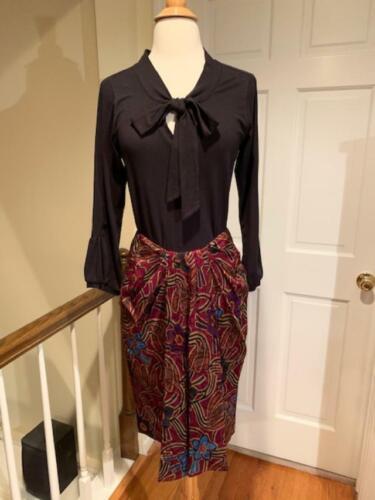 Ann Klein/Donna Karan Floral Silk Twist Drape Skir