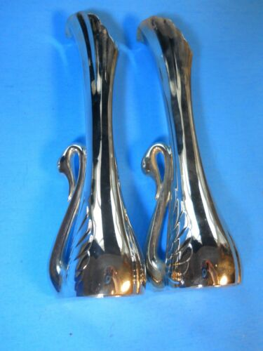 "2 SILVER PLATED FLUTED SWAN BUD 7"" VASE SET, Art Deco PERFECT PAIR, NEW in Box"