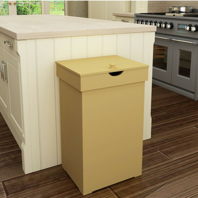 13-Gallon Retro Trash Can Kitchen Garbage Bin Wooden Recycling Wastebasket  w/Lid