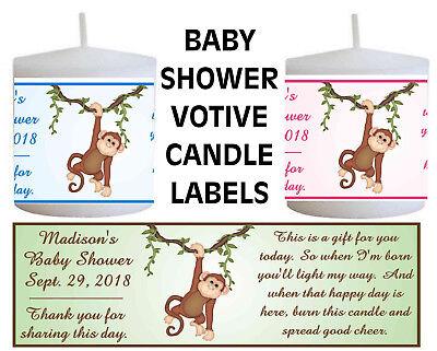 28 JUNGLE SAFARI BABY SHOWER FAVORS PERSONALIZED VOTIVE CANDLE LABELS