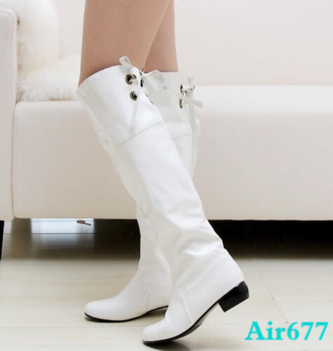 New Womens Knee High Boots Lace Up Patent leather Block Heels Casual Boots Shoes