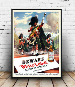Image Is Loading Dewars Whiskey Vintage Alcohol Advertising Poster Reproduction