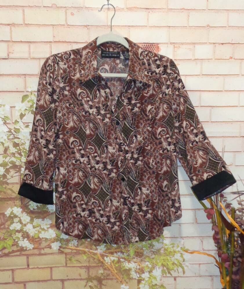 Rich Brown Tan and Black Blouse size Medium Pre-Owned