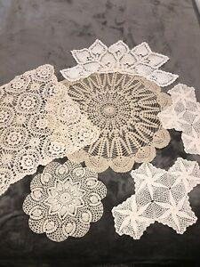 Lot-of-6-Vintage-Handmade-Crocheted-Doilies-3-White-3-Ecru-Assorted-Shapes-VGC
