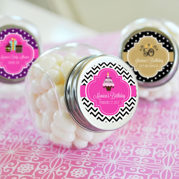 48 Personalized Birthday Party Candy Jars Favors Lot
