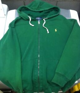 Vtg 90s Polo Ralph Lauren Zip Up Hoodie Sweatshirt Xlt Green Sport