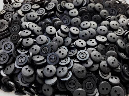 Small 11mm 18L Black Matt 2 Hole Card Making Shirt Plastic Buttons Crafts W722