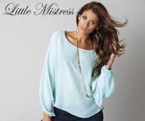 BNWT Little Mistress Batwing Top Tunic Aqua Blue UK Size 6 8 10