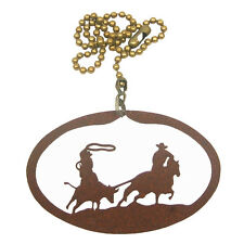 Team roping rust colored metal ornament/fan pull